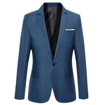 Harga Male Turn Down Collar Cotton Blend Slim Fit Suit (Deep Blue) - intl