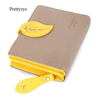 Harga Prettyzys Lady Elegant Plant Leaf Letter Clutch Short Wallet Card Holder Coin Purse (Coffee) - intl