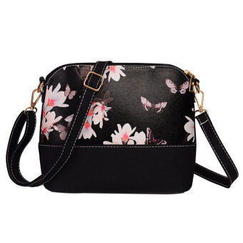 Harga La Vie Shell Bag Zipper Ladies Shouder Bag PU Panelled Messenger Bags(Black Daffodils)