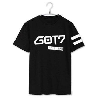 Harga GOT7 FLY IN JAPAN Album Shirts K-POP 2016 Casual Cotton Tshirt T Shirt Short Sleeve Tops T-shirt DX246 (Black) - intl