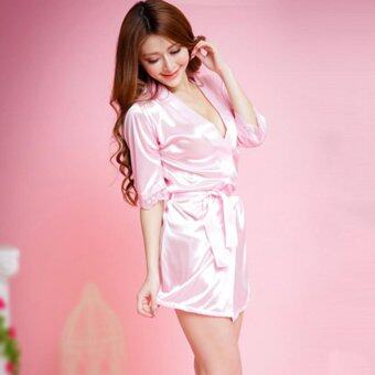 Harga Befu Sexy Women Bathrobe European American Erotic Female Night Sleepwear Night Robe Pink - intl
