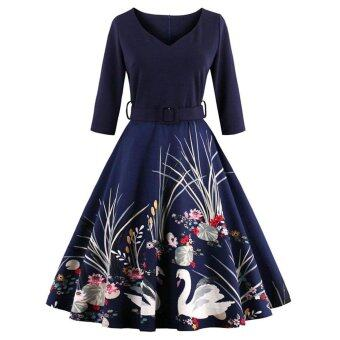 Harga Zaful Women Vintage Print Dress Elegant Style Pleated Defined Waist (Navy Blue) - intl