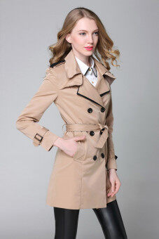Harga Trench Coat For Women 2017 Fashion Turn-down Collar Double Breasted Contrast Color Long Coats Plus Size XL(Khaki) - intl