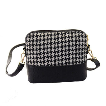 Harga La Vie Vintage Small Plaid Grid Leather Shell Shoulder Bag(Black)
