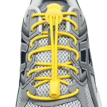 Harga เชือกรองเท้า เชือกผูกรองเท้า ไม่ต้องผูก รองเท้า Lock Laces No-Tie Elastic Shoe Laces Lock And Clip For Custom Fit - Yellow