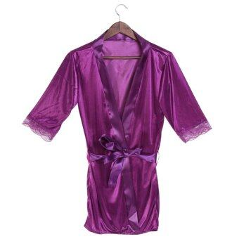 Harga Female Nightdress Satin Bathrobes Cardigan Night Gown Nightwear With G-String Purple - intl