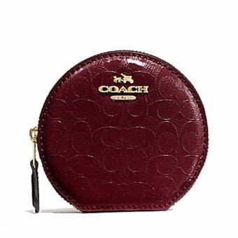 Harga COACH กระเป๋าใส่เหรียญ ROUND COIN CASE IN SIGNATURE DEBOSSED PATENT LEATHER F54840 (IM/ OXBLOOD 1)