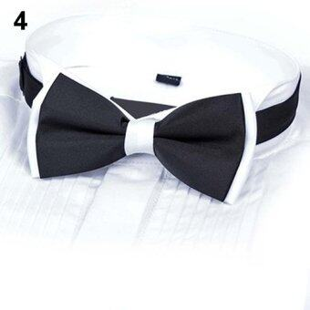 Harga Bluelans Men's Plain Polyester Pre Tied Wedding Bow Tie Suits Tie (Black & White) - intl