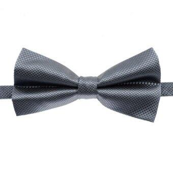 Harga TidePioneer Fashion Mens Tuxedo Bowtie Solid Color Neckwear Adjustable Weddingparty Bow Tie Necktie Pre-Tied Light Gray - intl