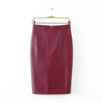 Harga 100% Brand NewT Women Triangle Opening Without Crease Package Hip Skirt Knee Skirt-Wine Red - intl
