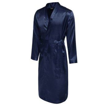 Harga Cyber Avidlove Men's Long Lightweight Satin Bathrobe Robe(navy blue)