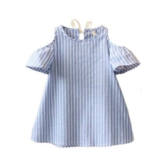 Harga Children girls kids summer sweet Striped Strapless dress pricess cotton dressfashion kids casual clothes