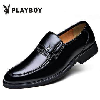 Harga PLAYBOY New Style Men's Fashion Breathable Leather Formal Business Play Boy Shoes(Black)