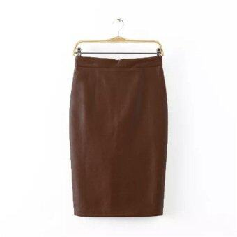 Harga 100% Brand NewT Women Triangle Opening Without Crease Package Hip Skirt Knee Skirt-Brown - intl