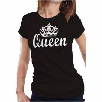 Harga Hequ Valentine Shirts Woman Cotton King Queen Funny Letter Print Couples Leisure T-shirt Tshirt Short Sleeve O neck T-shirt Black - intl