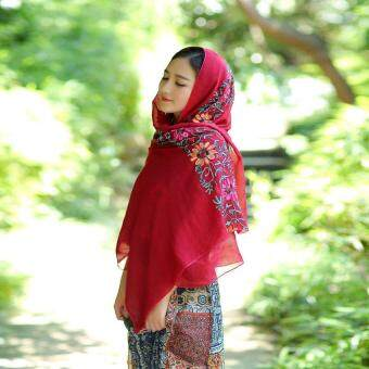 Harga Fashion Color Embroidered Shawl Scarf Beach Sunscreen (Int: One size) - Intl