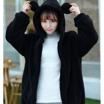 Harga Women Hoodies Zipper Girl Winter Loose Fluffy Bear Ear Hoodie Hooded Jacket Warm Outerwear Coat cute sweatshirt(Black) - intl