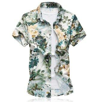 Harga Mens dress shirts Short-sleeved mens clothing Floral shirt men blouse camisa social Flower shirts - intl
