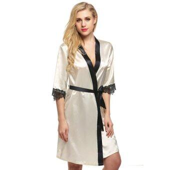 Harga Cyber Ekouaer Women's Kimono Robe Knee Length Bathrobe Sexy Lingerie Sleepwear Short Satin Lace Nightwear Bridesmaid Robes XS-XL