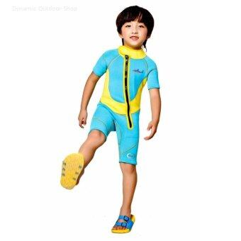 Harga 2.5 mm thickness children's surf bathing suit snorkeling suit children diving suit - Yellow - intl