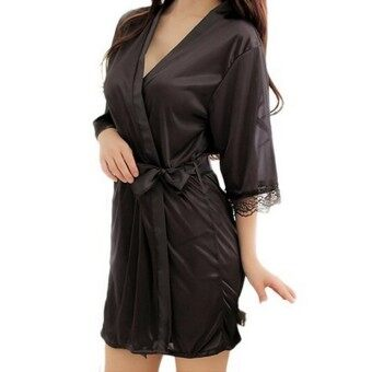 Harga Women Silk Satin Lace Bathrobe Nightwear Kimono Lingerie Nightdress Nightgown Sleepwear Underwear Pajamas (Intl) - intl