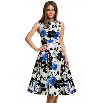 Harga Cyber ACEVOG Stylish Lady Women's Casual Sleeveless Floral Printed Mid-calf Length Party Cocktail Evening Dress - Intl