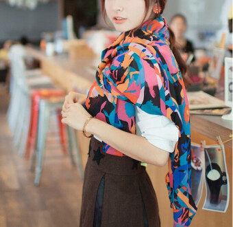 Harga Printed chiffon fashion scarves Hyun blue horse