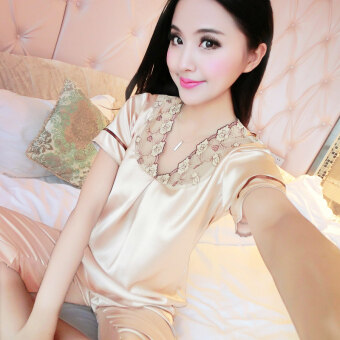 Harga Summer short - sleeved women 's sexy silk pajamas summer middle - aged mothers ice silk home service suits - intl
