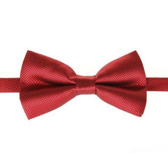 Harga Fashion Men's Tuxedo Bowtie Solid Color Neckwear Adjustable Wedding Party Bow Tie Necktie Pre-Tied Burgundy