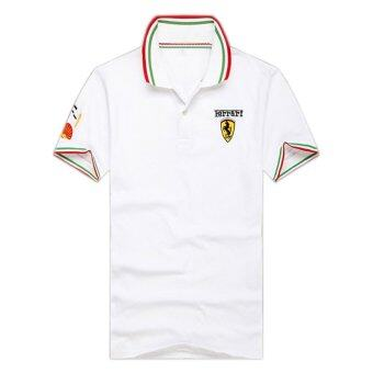 Harga Men's Cotton Short-sleeve Lapel T-shirt ferrari Embroidered Slim Polo Shirts (White). - intl