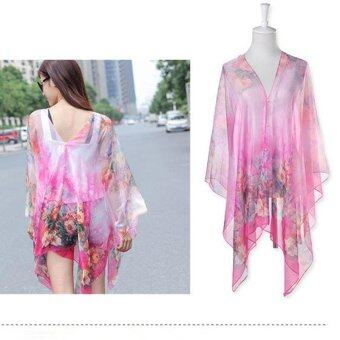 Harga Hang-Qiao Floral Print Chiffon Shawls Scarf Pearl Button Sunscreen Clothing Scarf (Pink) - intl