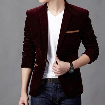 Harga High Quality 2017 Brand Men's Fashion Blazer British Style Casual Slim Fit Men's Suit Jacket Blazers Men's Coat Plus Size (Magenta) - intl