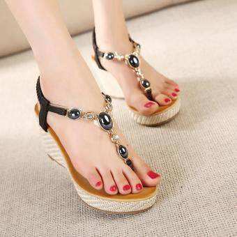 Harga Women Fashion Fashion Heeled Sandals (Black) - intl