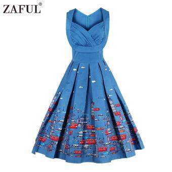 Harga Zaful Women Fashion Vintage Printing Sleeveless Dress Retro Style Defined Waist Elegant - intl