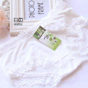Harga HengSong Bamboo Charcoal girl underwear Women Female sexy cute Lace Triangle Panties Underwear Briefs (White) - intl