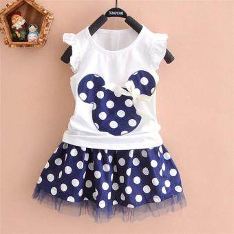 Harga 1-4Y Summer Baby Kid Girls Princess Clothes Cartoon Party Mini Girl Dress Ball Gown Dress Lace(Blue) - intl