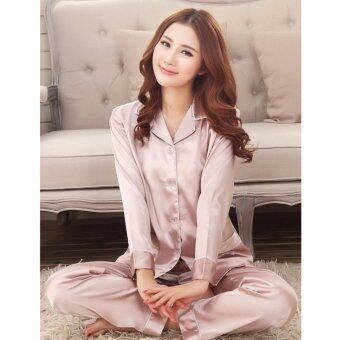 Harga Spring and summer women 's elegant pajamas suit long - sleeved thin silk silk embroidered lace silk household clothing suits ladies pajamas - intl