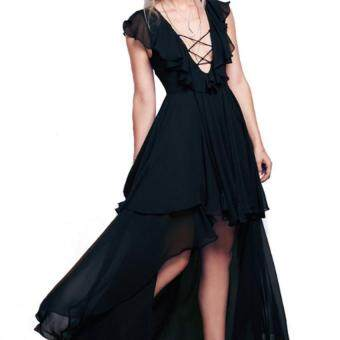Harga Zaful Woman Irregular Hem Dress Chest Strap Flounce (Black) - Intl - intl