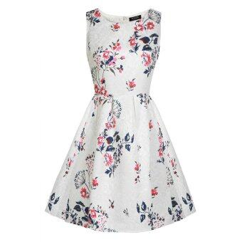 Harga Cyber ACEVOG Women Sleeveless Flower Mini Party Evening Cocktail Garden Bubble Dress (White) - intl