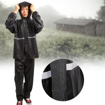 Harga Unisex Cycling Waterproof Rain Jacket and Pants Gear Wear (Black / 3XL) - intl