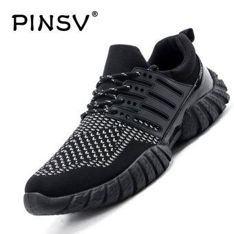 Harga PINSV Breathable Mesh Men's Sport Shoes Casual Running Shoes (Black/White) - intl