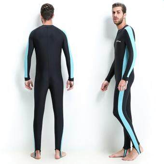 Harga Lovers One-piece Men's Swimming Diving suit SURFING SUIT Wetsuit bathing suit Long sleeve Wetsuits (Blue) - intl