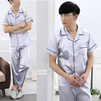 Harga Men's ice-silk short-sleeved trousers two-piece suit home service pajamas(Silver) - intl