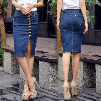 Harga Vintage Denim Jeans High Waist Skirts Summer Sexy Women Single Breasted Denim Knee Length Fashion Pencil Skirt Plus Size - intl