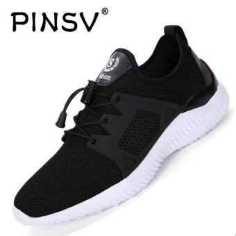 Harga PINSV Men's Light Fashion Sneakers Casual Shoes (Black) - intl