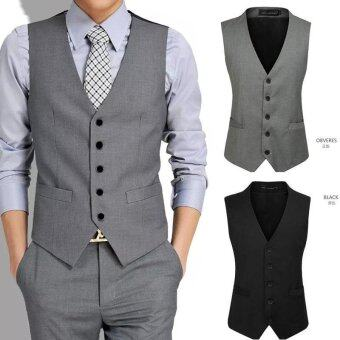 Harga 2016 Mens Suit Vest V Slim Suit Collar(Grey) - intl