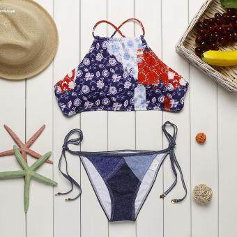 Harga Sexy Women Halter High Neck Tie Side Floral Print 2 Pieces Bikini Set Swimwear - intl