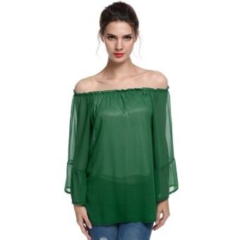 Harga Toprank ACEVOG Women Casual Off Shoulder Long Flare Sleeve Chiffon Shirt Blouse Top ( Green ) - intl