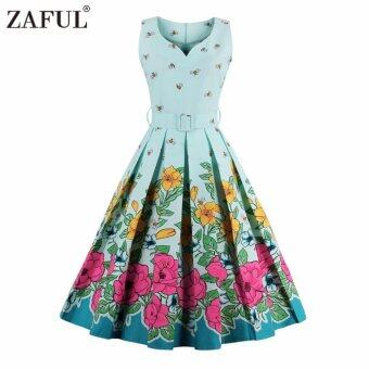 Harga Zaful Women Fashion Vintage Printing Sleeveless Dress Retro Style Defined Waist Elegant(Light Blue) - intl