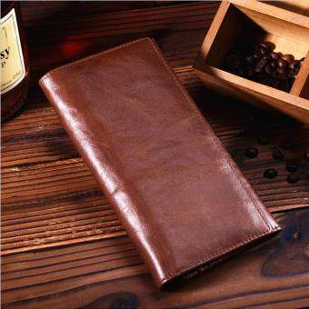 Harga Vintage genuine oil wax leather Men's long wallet Top layer cowhide Card holder Coin Purse - intl